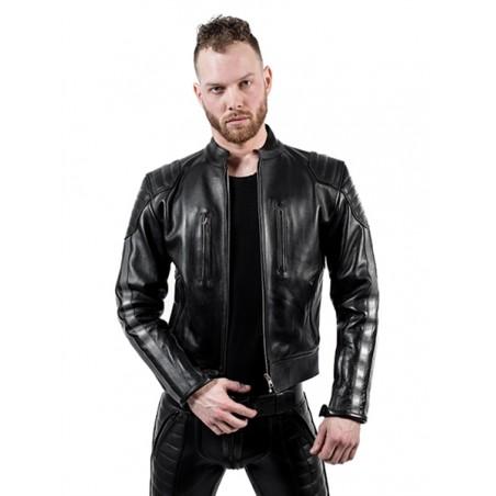 Mister B Leather Biker Jacket Grey Stripes